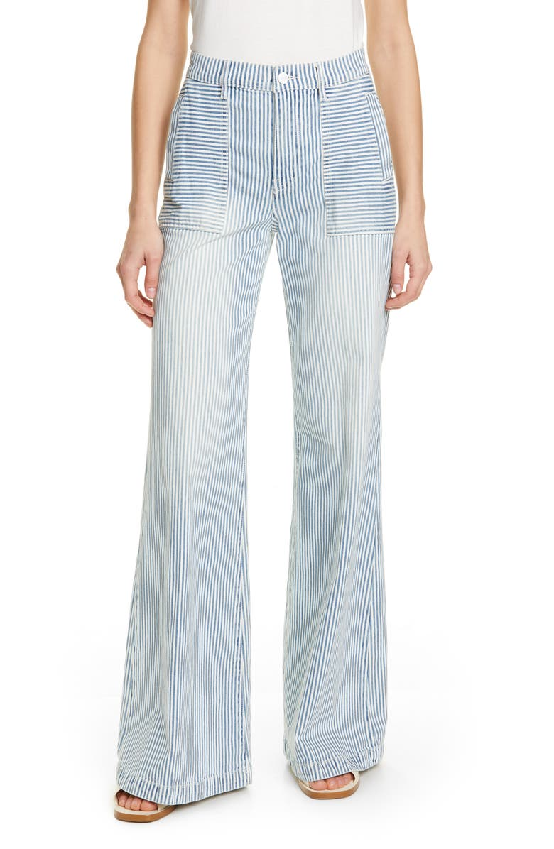 FRAME Engineer Stripe High Waist Palazzo Jeans, Main, color, NORMANDIE