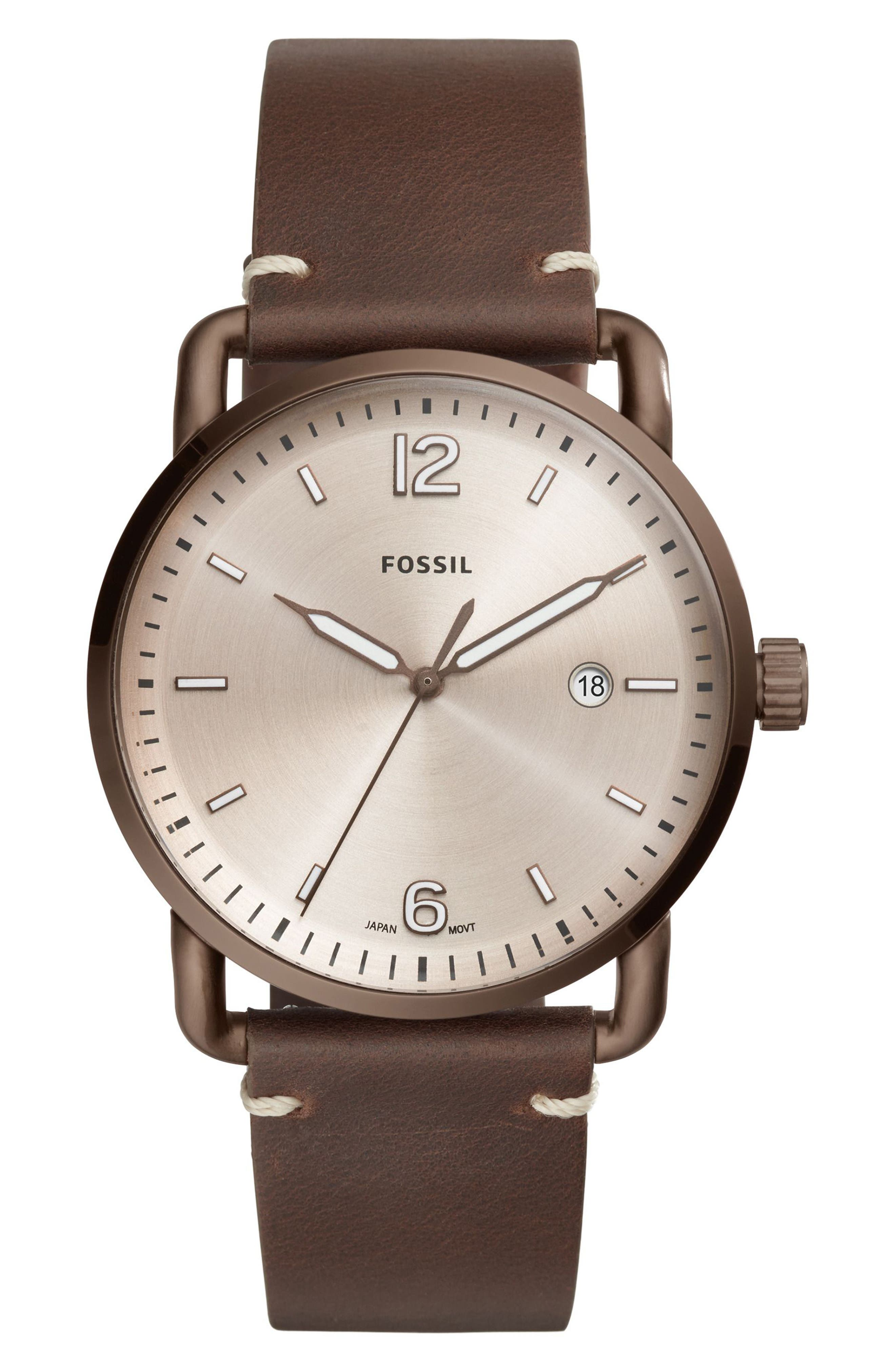 The Commuter Leather Strap Watch, 42mm, Main, color, 210