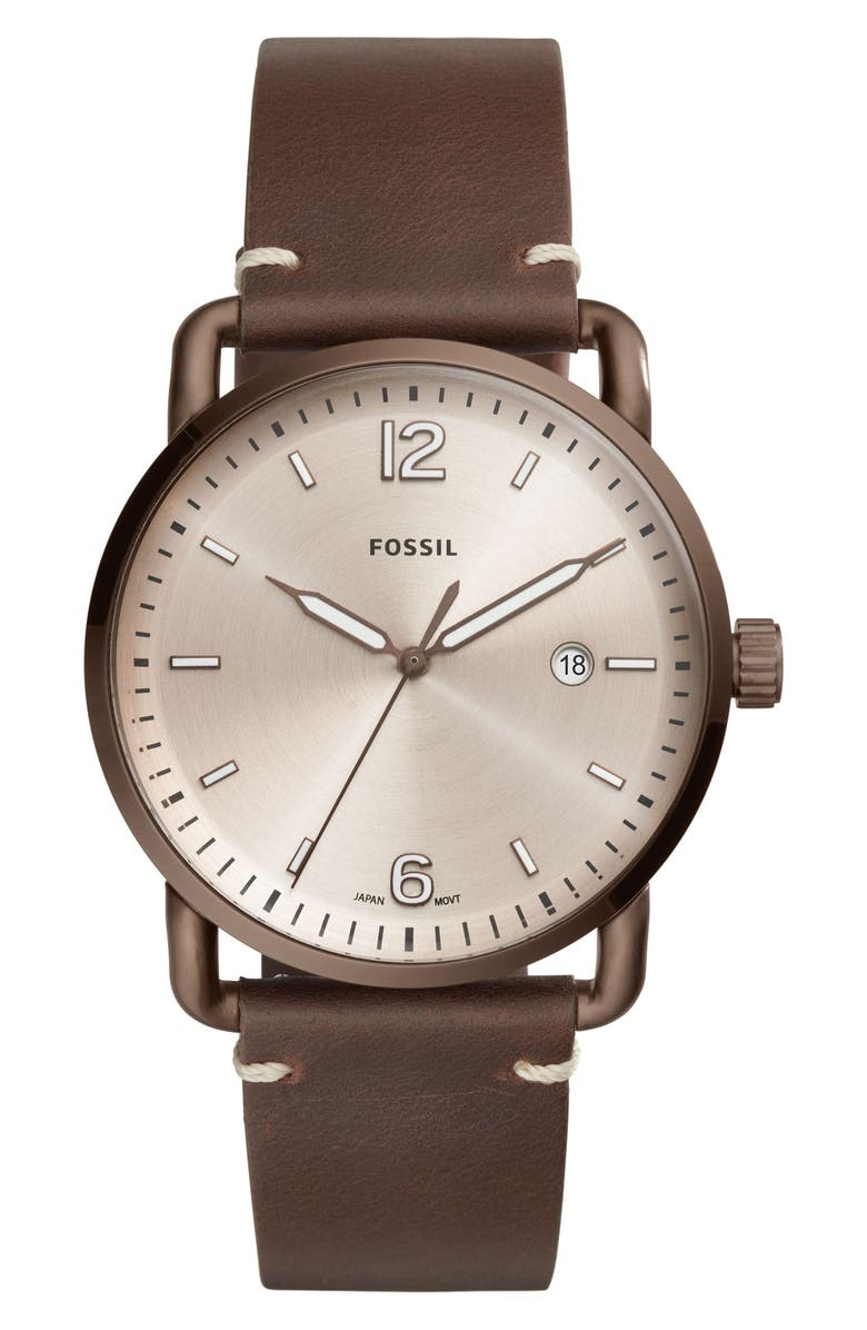FOSSIL The Commuter Leather Strap Watch, 42mm, Main, color, 210