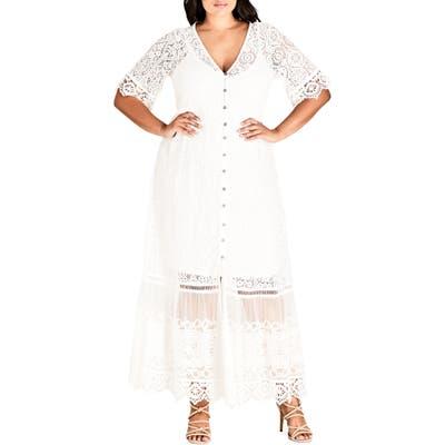 Plus Size City Chic Summer Lace Maxi Dress, Ivory