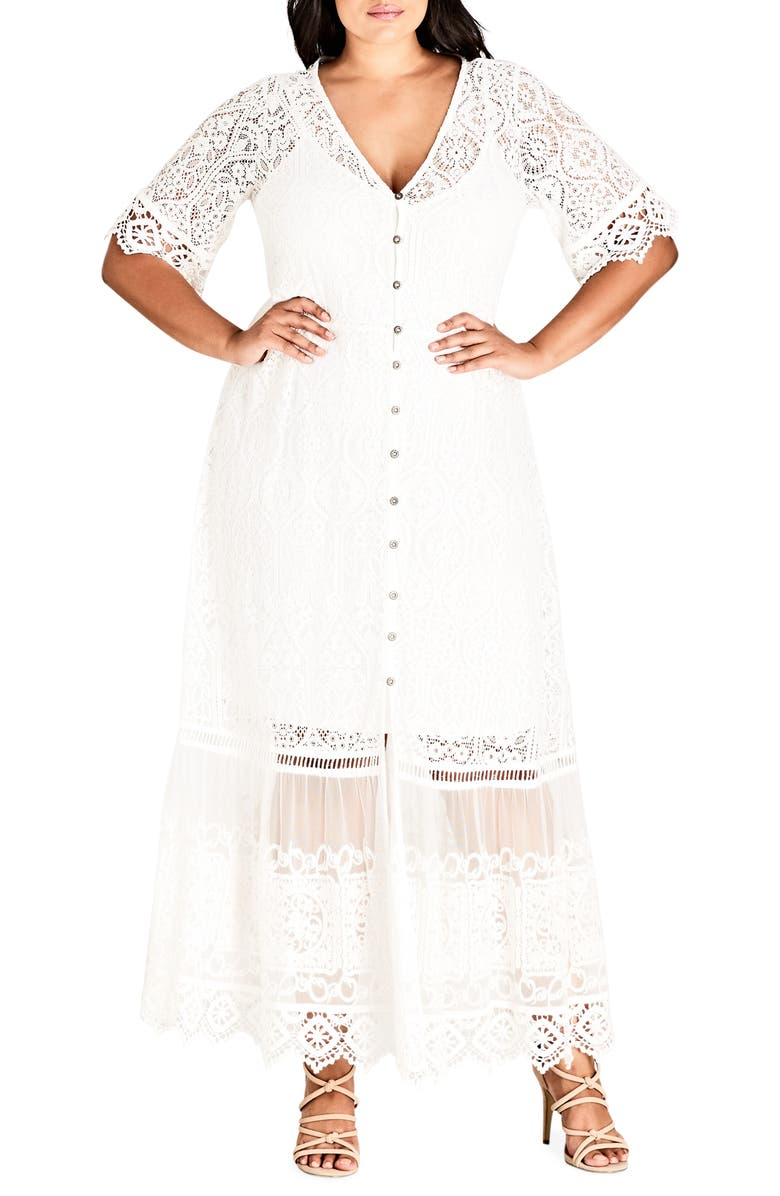 CITY CHIC Summer Lace Maxi Dress, Main, color, IVORY