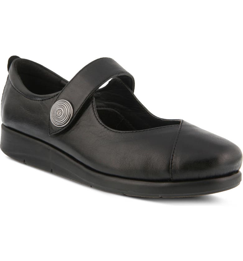 SPRING STEP Zemira Flat, Main, color, BLACK LEATHER