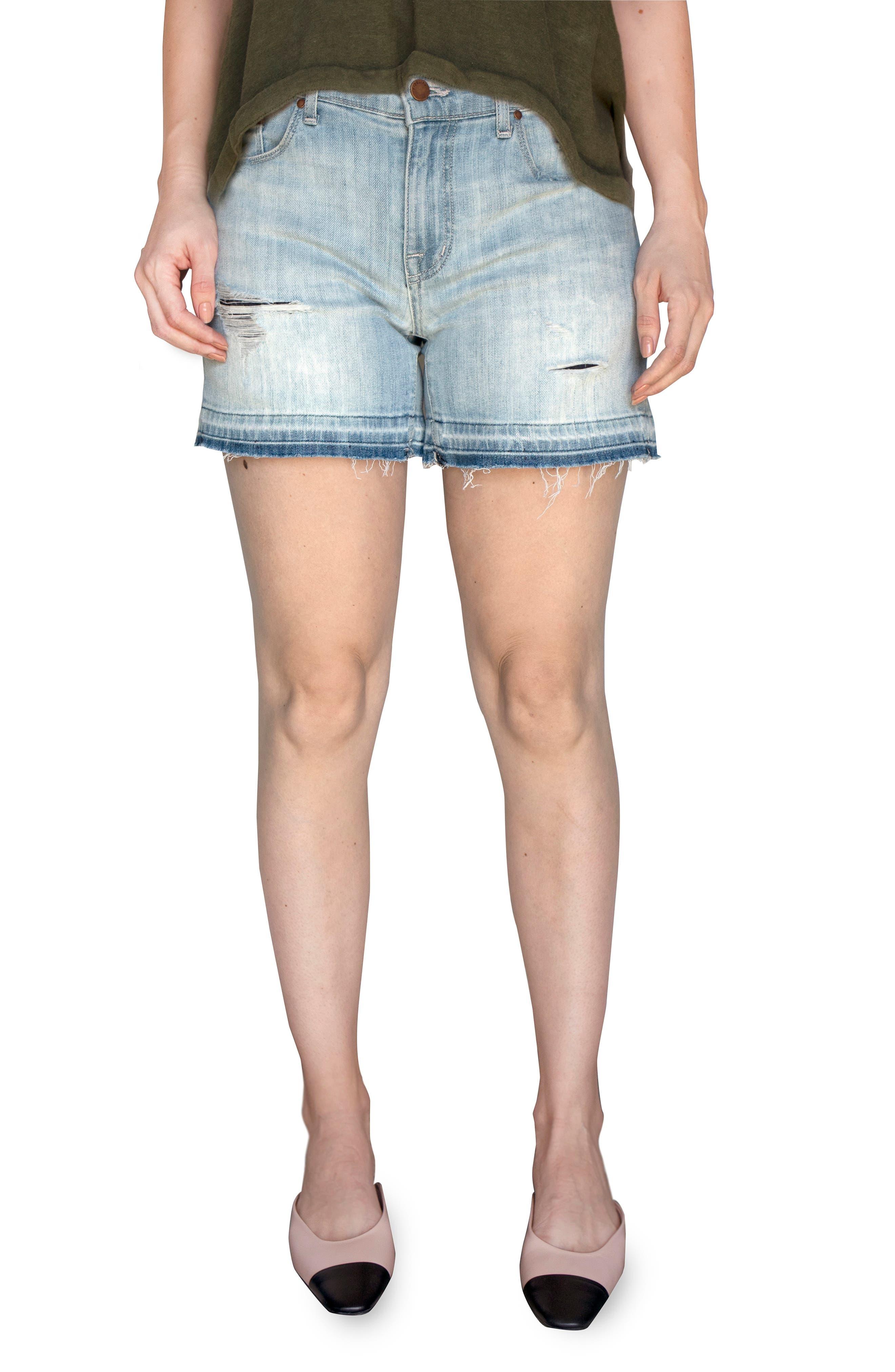 Malibu Ripped Released Raw Hem Denim Shorts