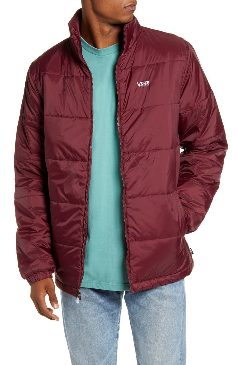VANS Layton Water Resistant Nylon Puffer Jacket, Main, color, PORT ROYALE