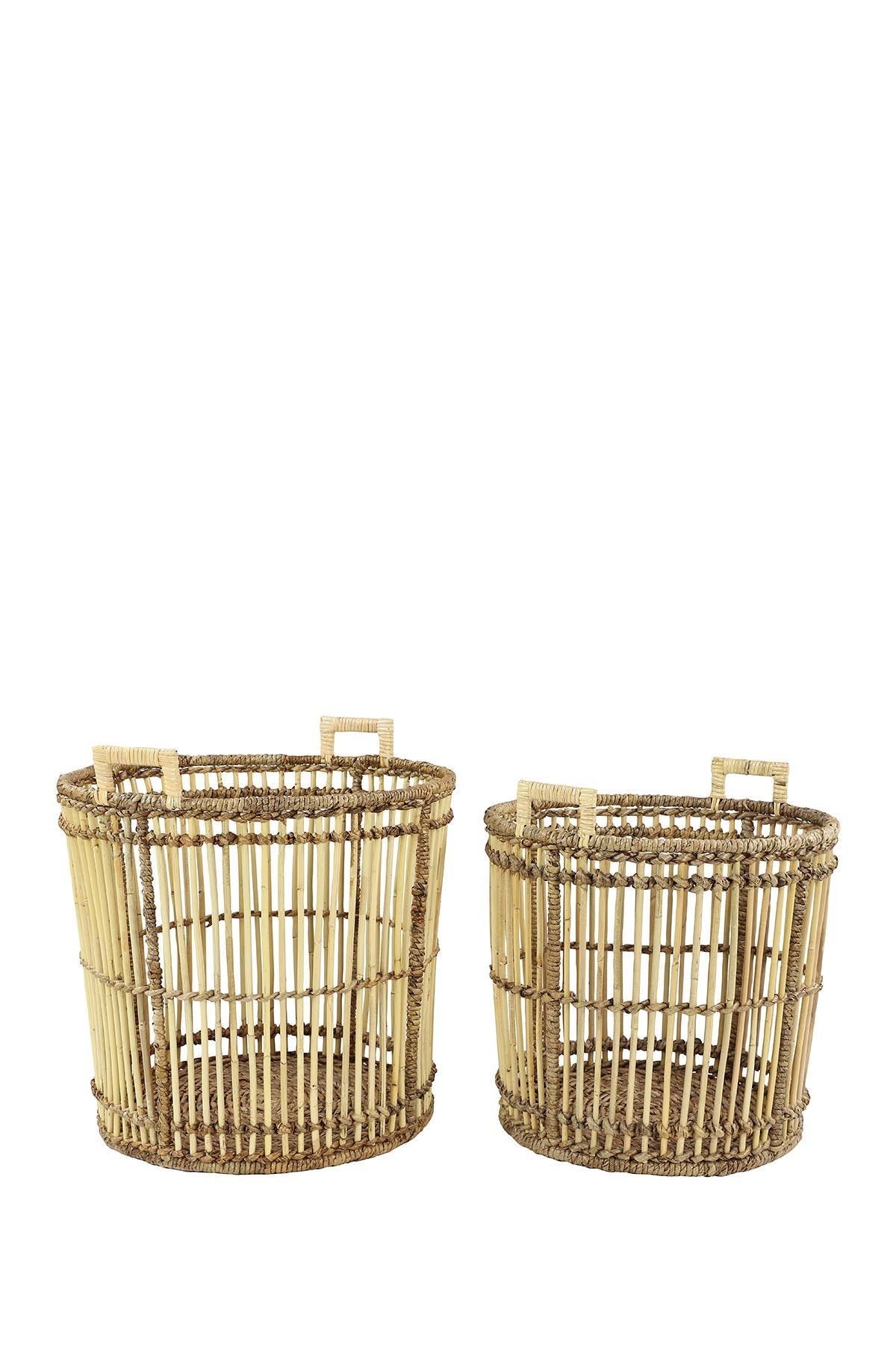 Willow Row Large Birdcage-Shaped Natural Bamboo Baskets w/ Banana Leaf Detail - Set of 2 at Nordstrom Rack