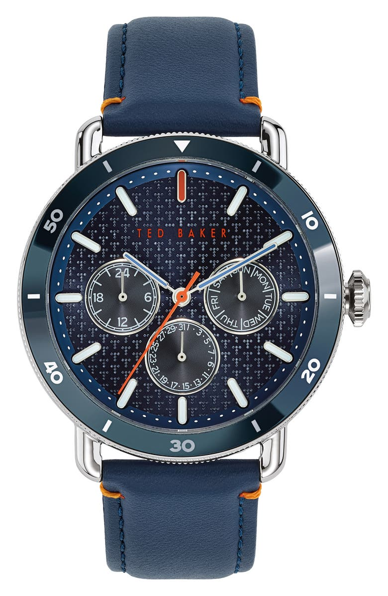 TED BAKER LONDON Margarit Multifunction Leather Strap Watch, 46mm, Main, color, BLUE/ SILVER