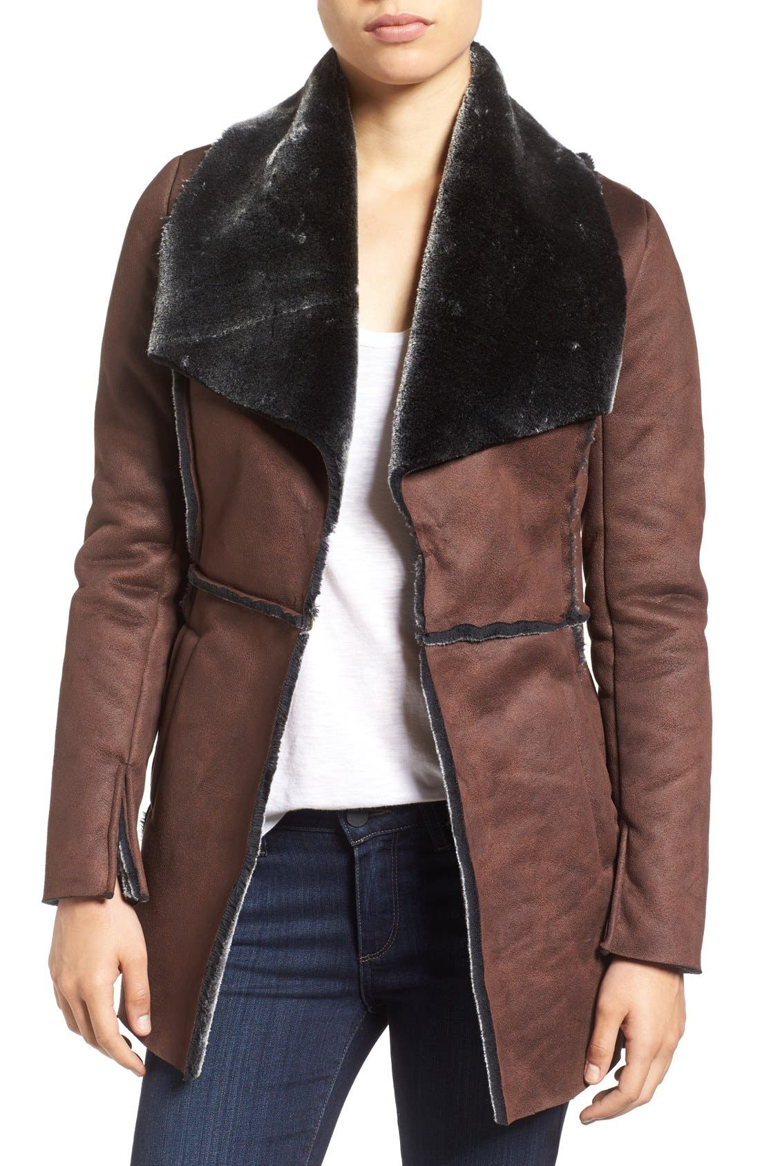 'Abigail' Faux Shearling Coat, Main, color, 201
