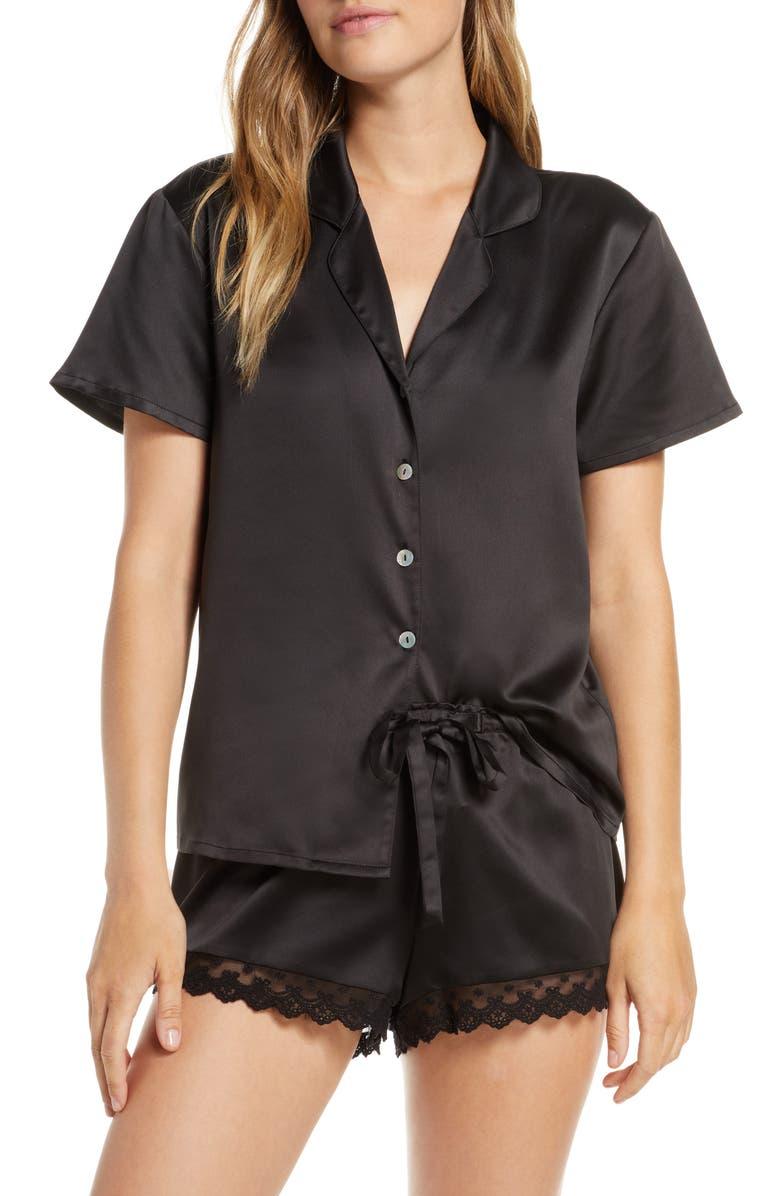 FLORA NIKROOZ Victoria Satin Short Pajamas, Main, color, 001