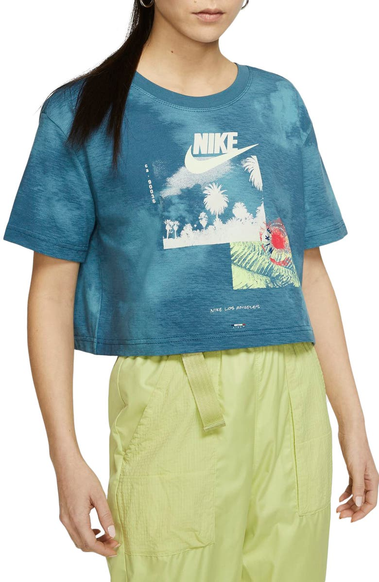 NIKE Short Sleeve Graphic Crop Top, Main, color, 418