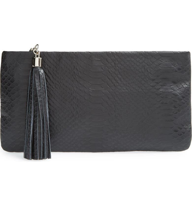 HALOGEN<SUP>®</SUP> Tassel Leather Clutch, Main, color, 001