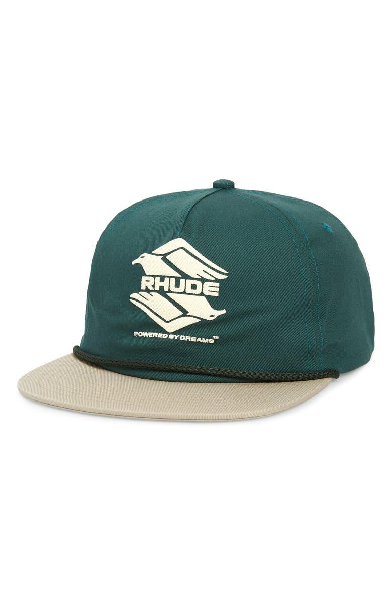 RHUDE Double Eagle Baseball Cap, Main, color, GREEN