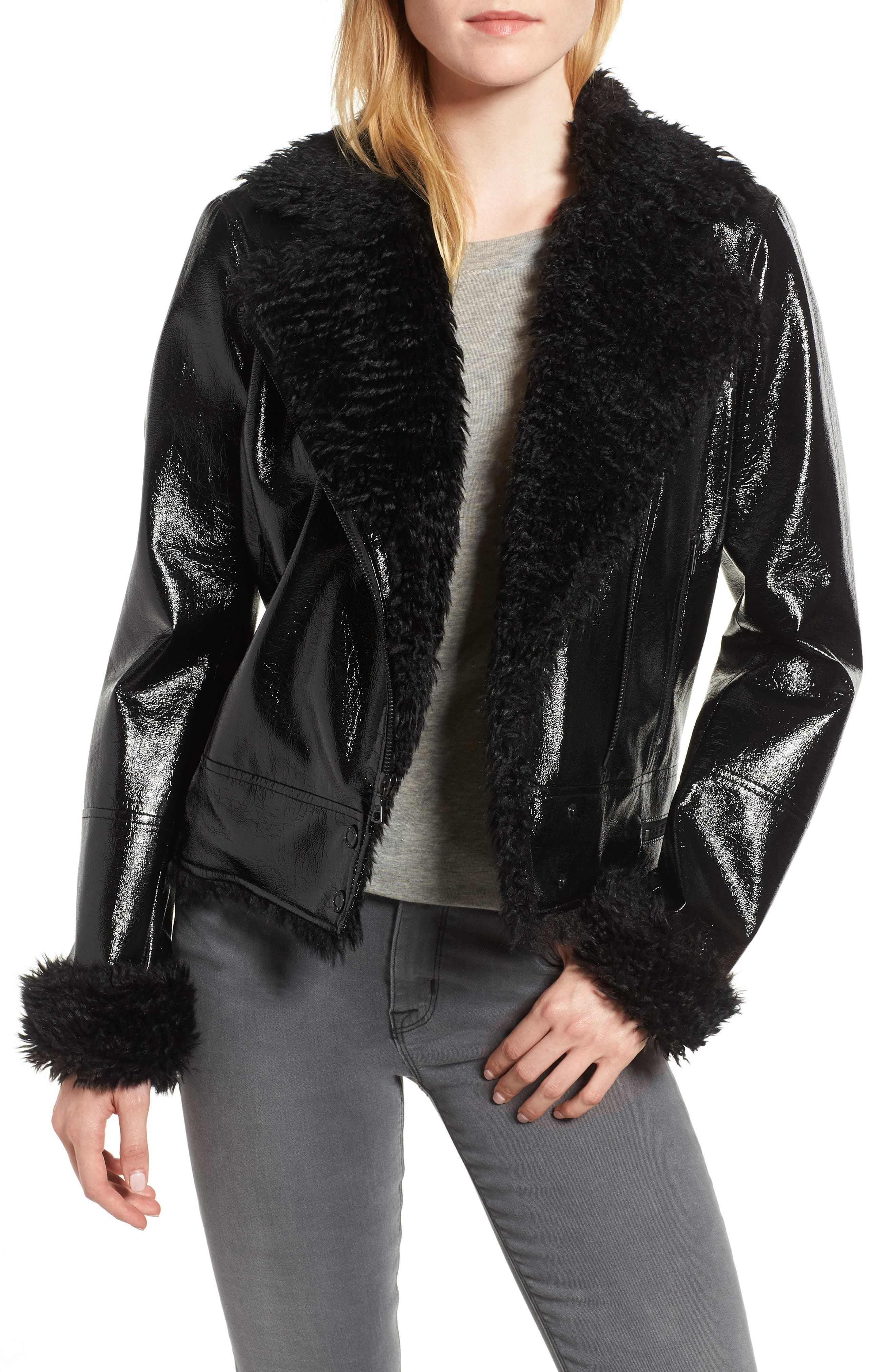Image of Kensie Faux Patent Leather with Faux Shearling Trim Moto Jacket