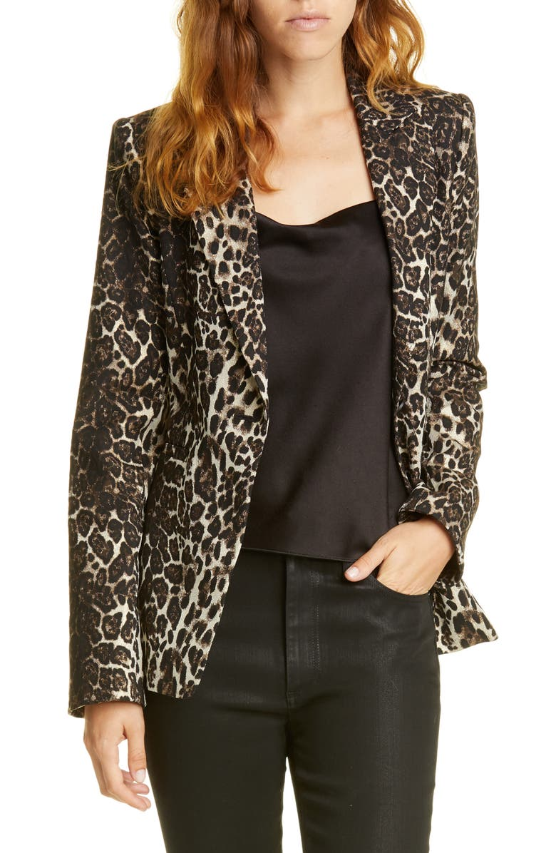 ALICE + OLIVIA Toby Fitted Leopard Print Stretch Cotton Blend Blazer, Main, color, BROWN MULTI