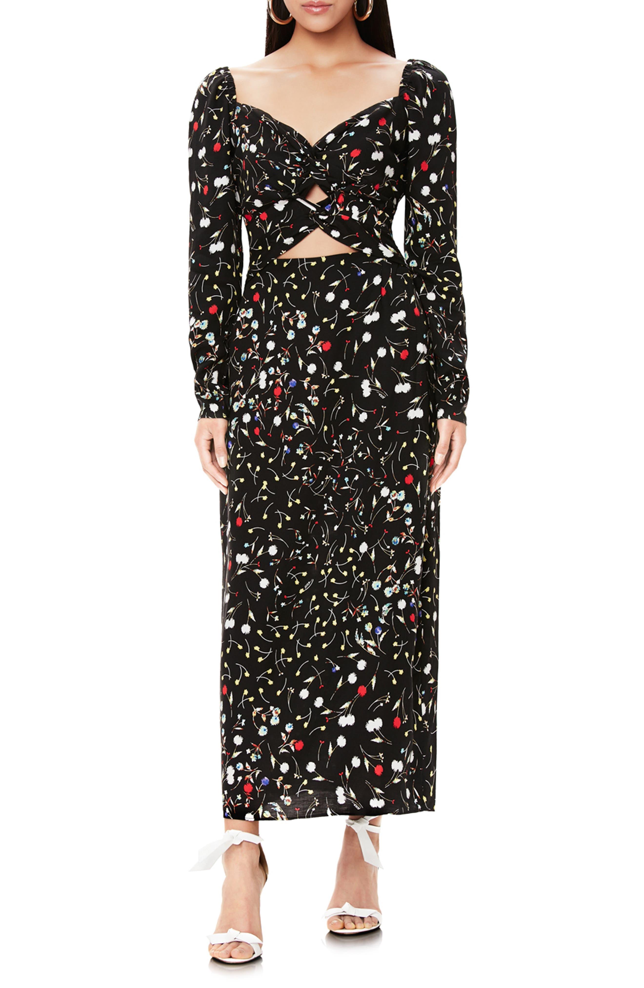 Afrm Floral Print Double Knot Cutout Long Sleeve Maxi Dress, Black