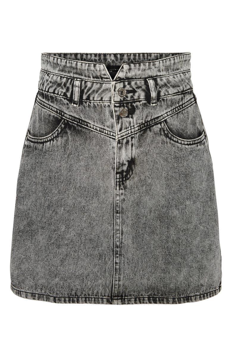 VERO MODA Kathy High Waist Denim Skirt, Main, color, BLACK
