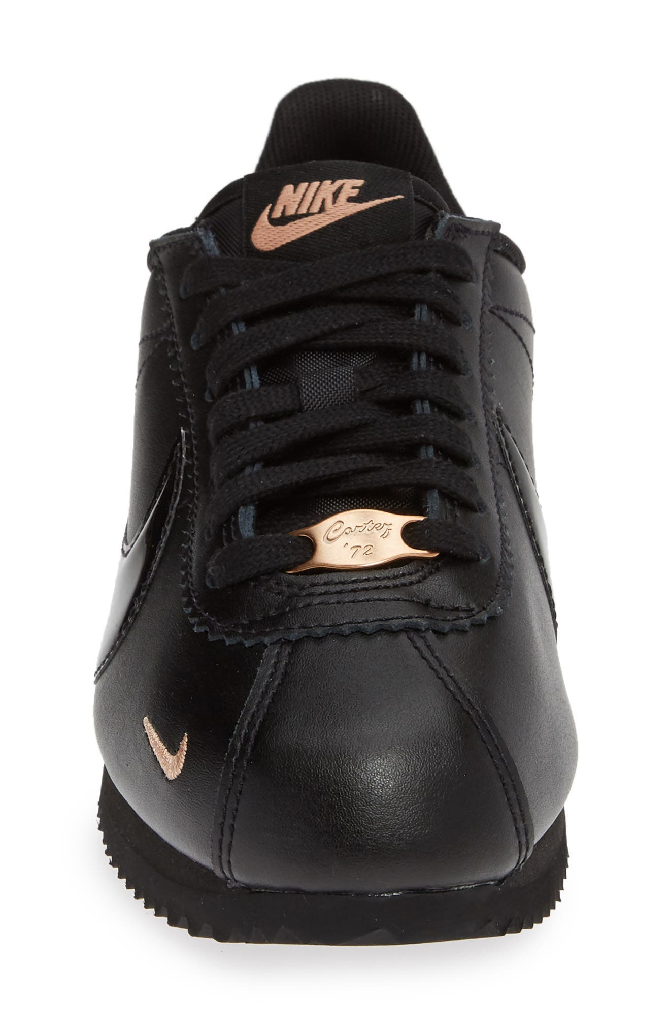 ,                             Classic Cortez Premium XLV Sneaker,                             Alternate thumbnail 4, color,                             BLACK/ BLACK/ ROSE GOLD