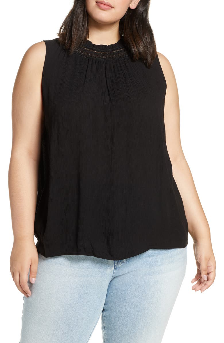 1.STATE Lace Inset Shirred Neck Top, Main, color, RICH BLACK