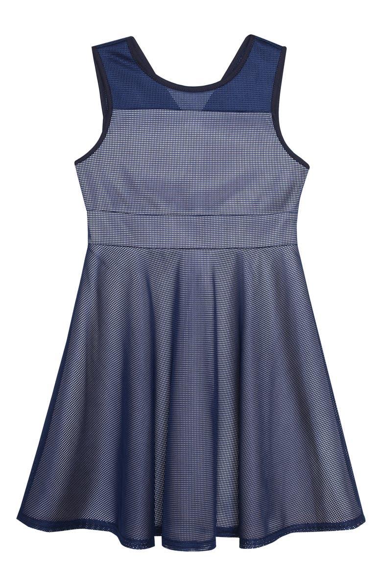 PIPPA & JULIE Mesh Skater Dress, Main, color, NAVY