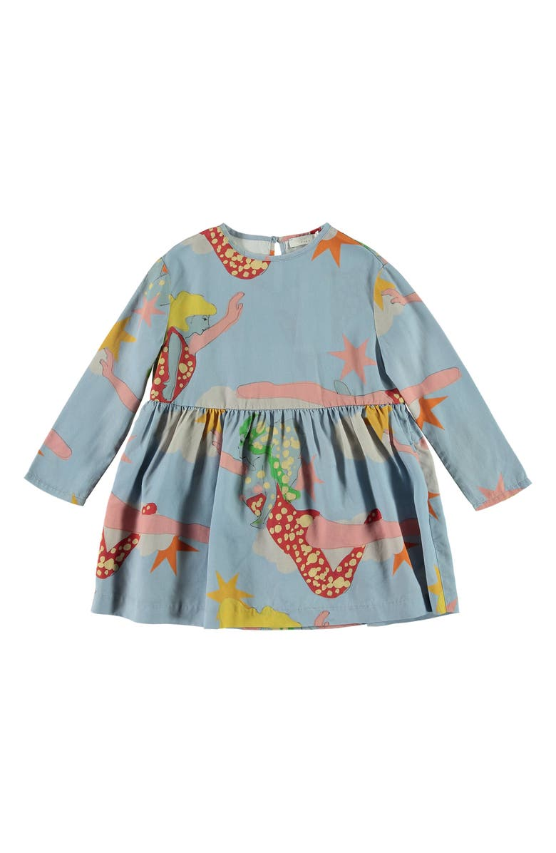 STELLA MCCARTNEY KIDS Stella McCartney Kid Lucy in the Sky Long Sleeve Dress, Main, color, BLUE MULTI