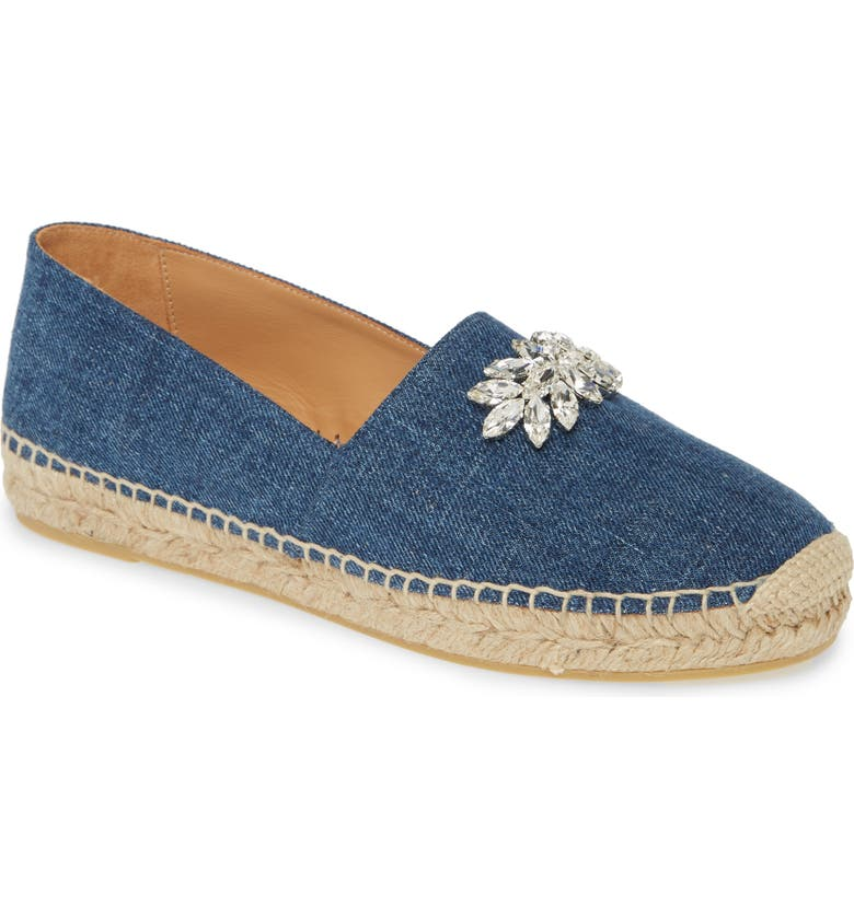 MIU MIU Crystal Espadrille Flat, Main, color, BLUE