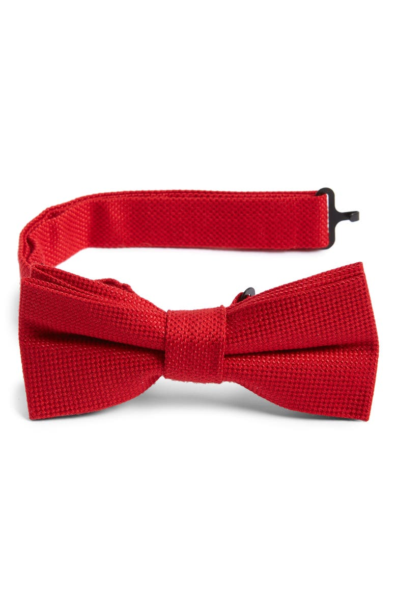 NORDSTROM Solid Wool & Silk Bow Tie, Main, color, 600
