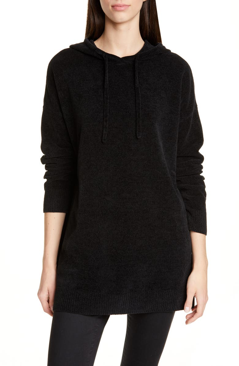 EILEEN FISHER Hooded Organic Cotton Chenille Tunic, Main, color, 001