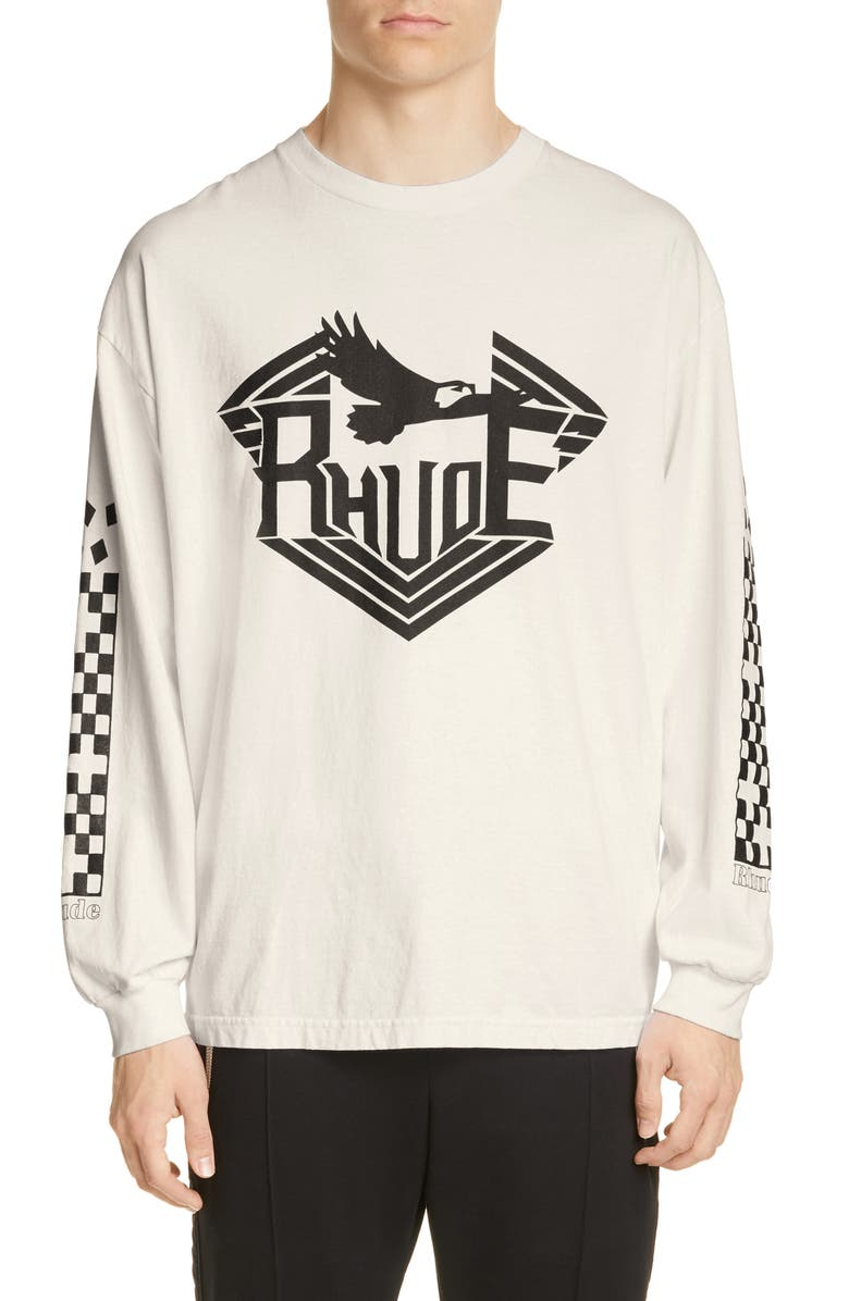 RHUDE Rhanger Long Sleeve T-Shirt, Main, color, WHITE