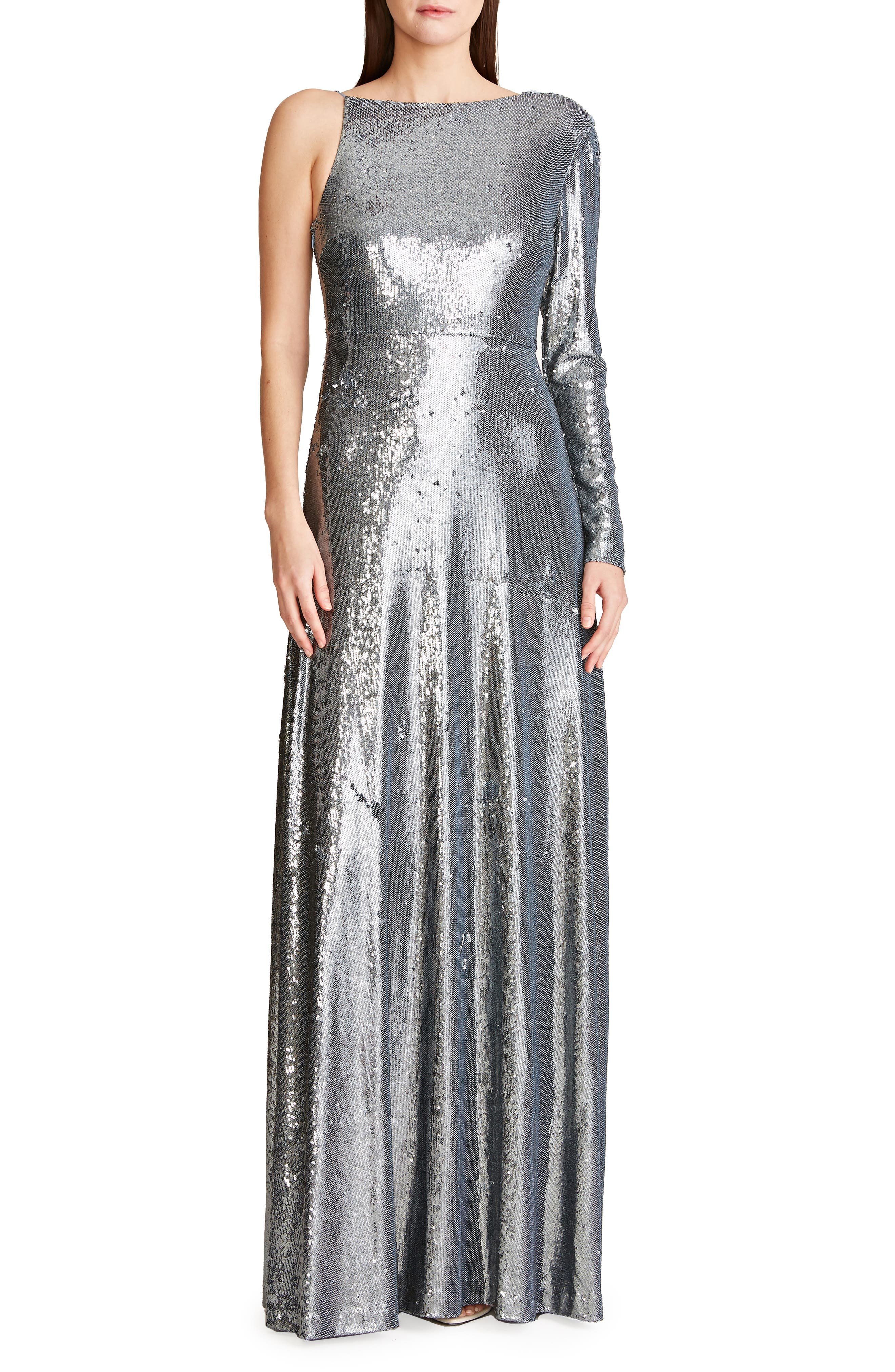s Emerson Sequin One Shoulder Gown
