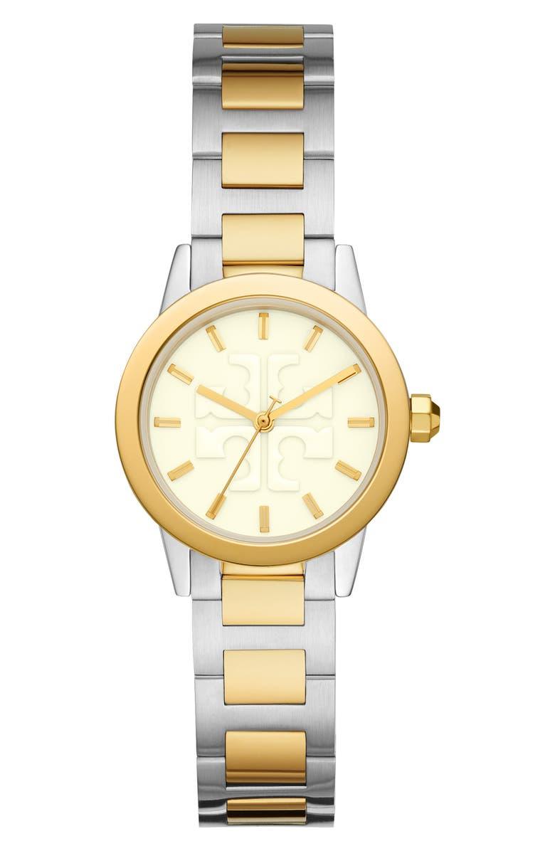 토리버치 Tory Burch Gigi Two-Tone Bracelet Watch, 28mm,two-tone/ white/ two-tone