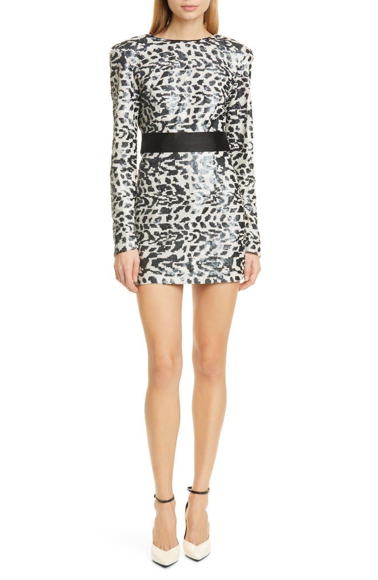 ROTATE Wanda Long Sleeve Sequin Minidress, Main, color, 002