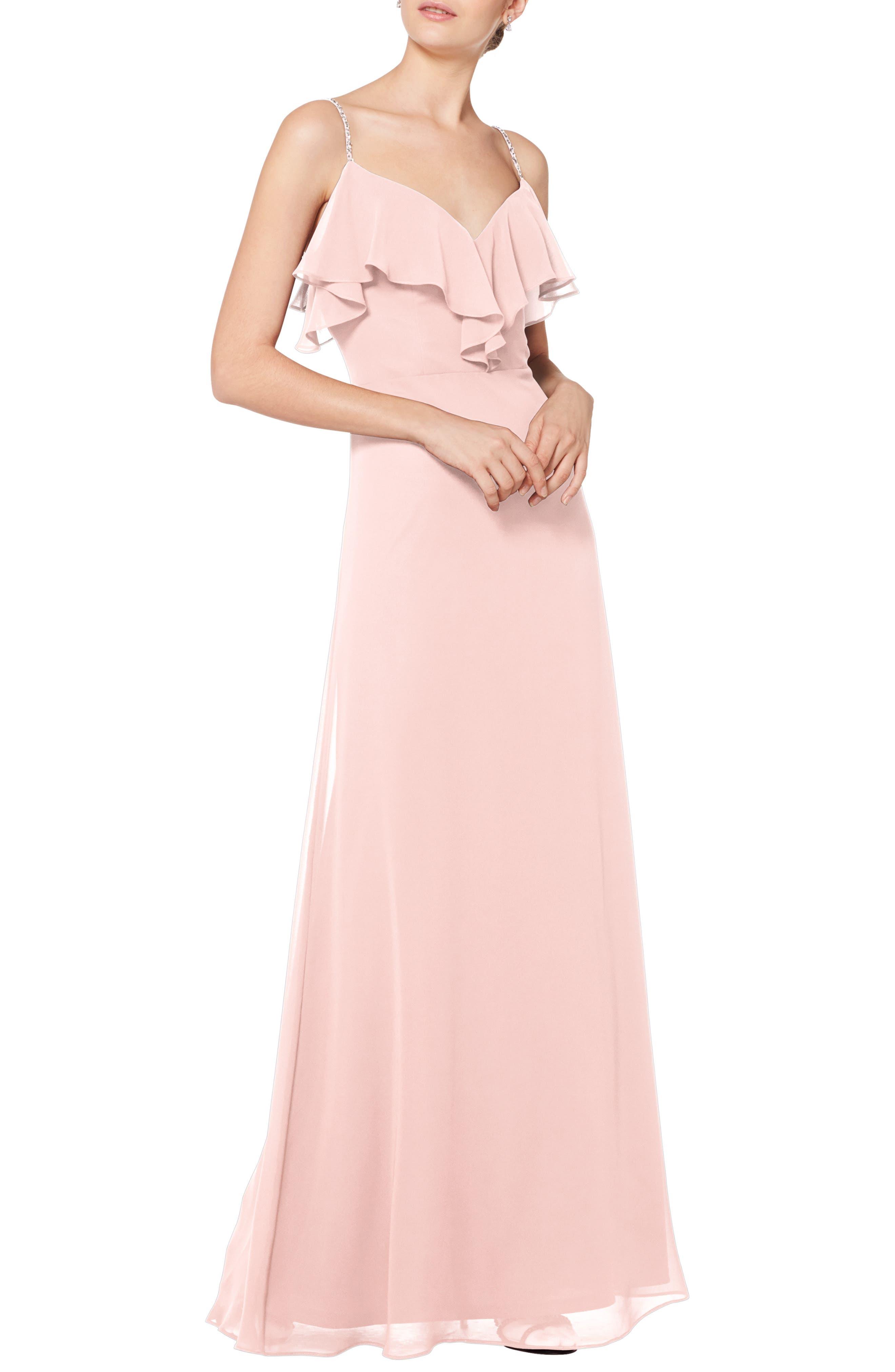 #levkoff Jeweled Strap Ruffle Neck Chiffon Gown, Pink