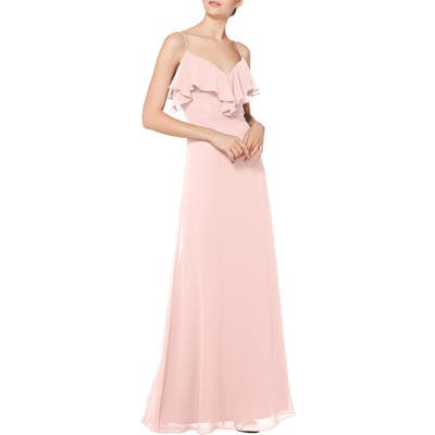 #levkoff Jeweled Strap Ruffle Neck Chiffon Gown, Pink