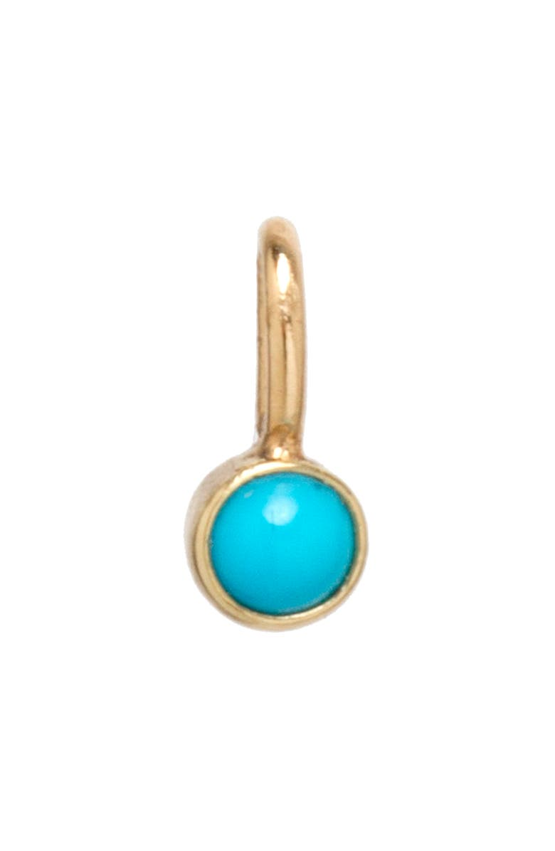 ZOË CHICCO Bezel Set Turquoise Charm, Main, color, YELLOW GOLD