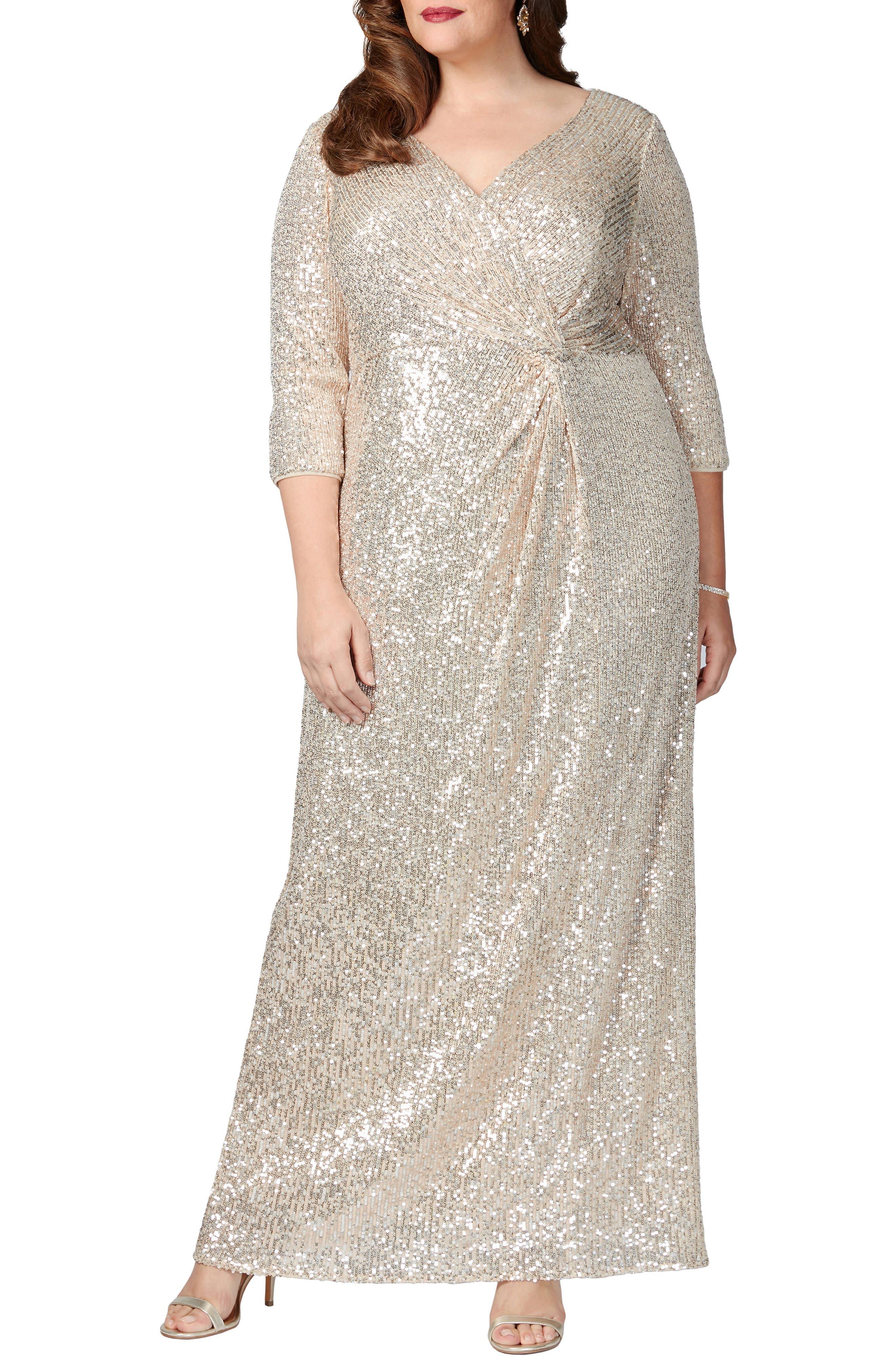 70s Sequin Dresses, Disco Dresses Plus Size Womens Alex Evenings Sequin Column Gown Size 20W - Green $245.00 AT vintagedancer.com