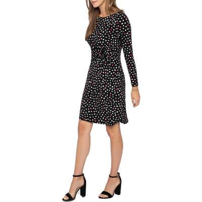 Nic+Zoe Pop Dot Long Sleeve Dress, Black