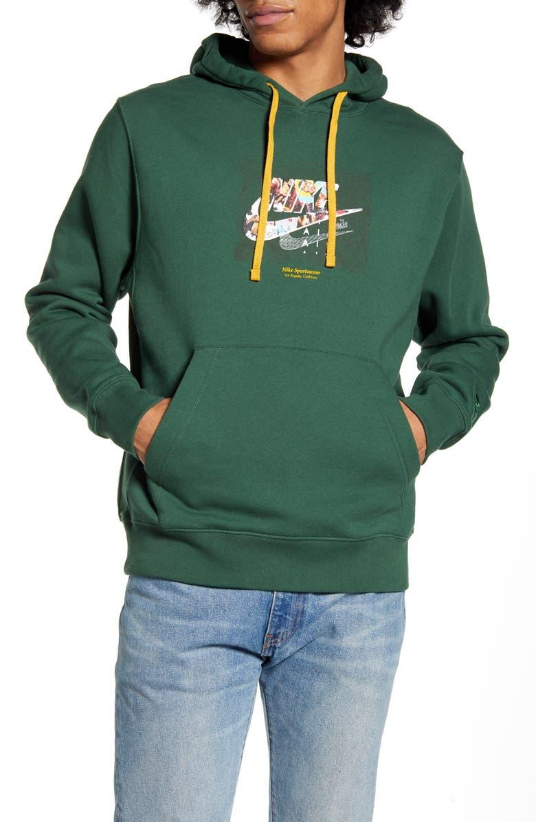 NIKE Sportswear Club Fleece Hooded Sweatshirt, Main, color, FIR/ GOLD DART