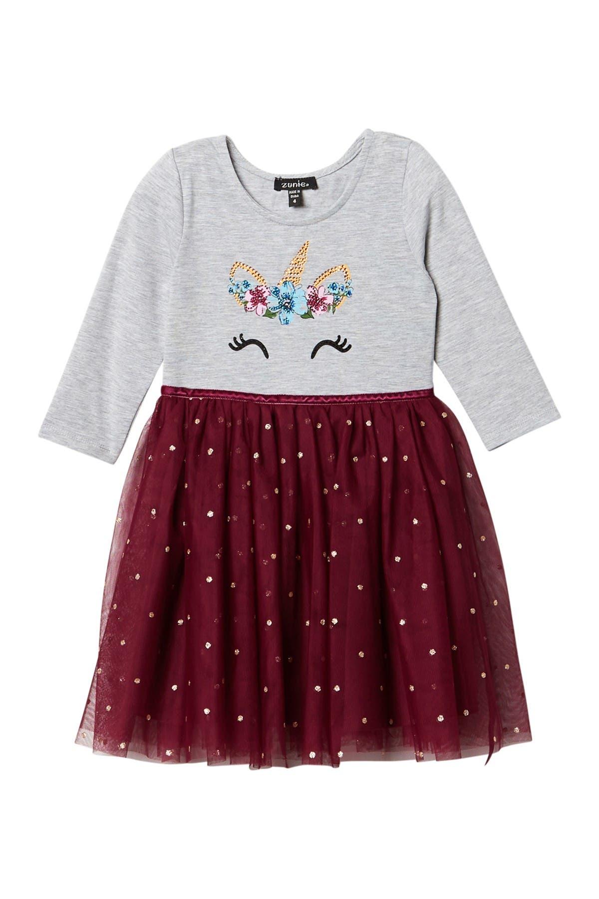 Image of Zunie 3/4 Sleeve Glitter Skirt Unicorn Dress