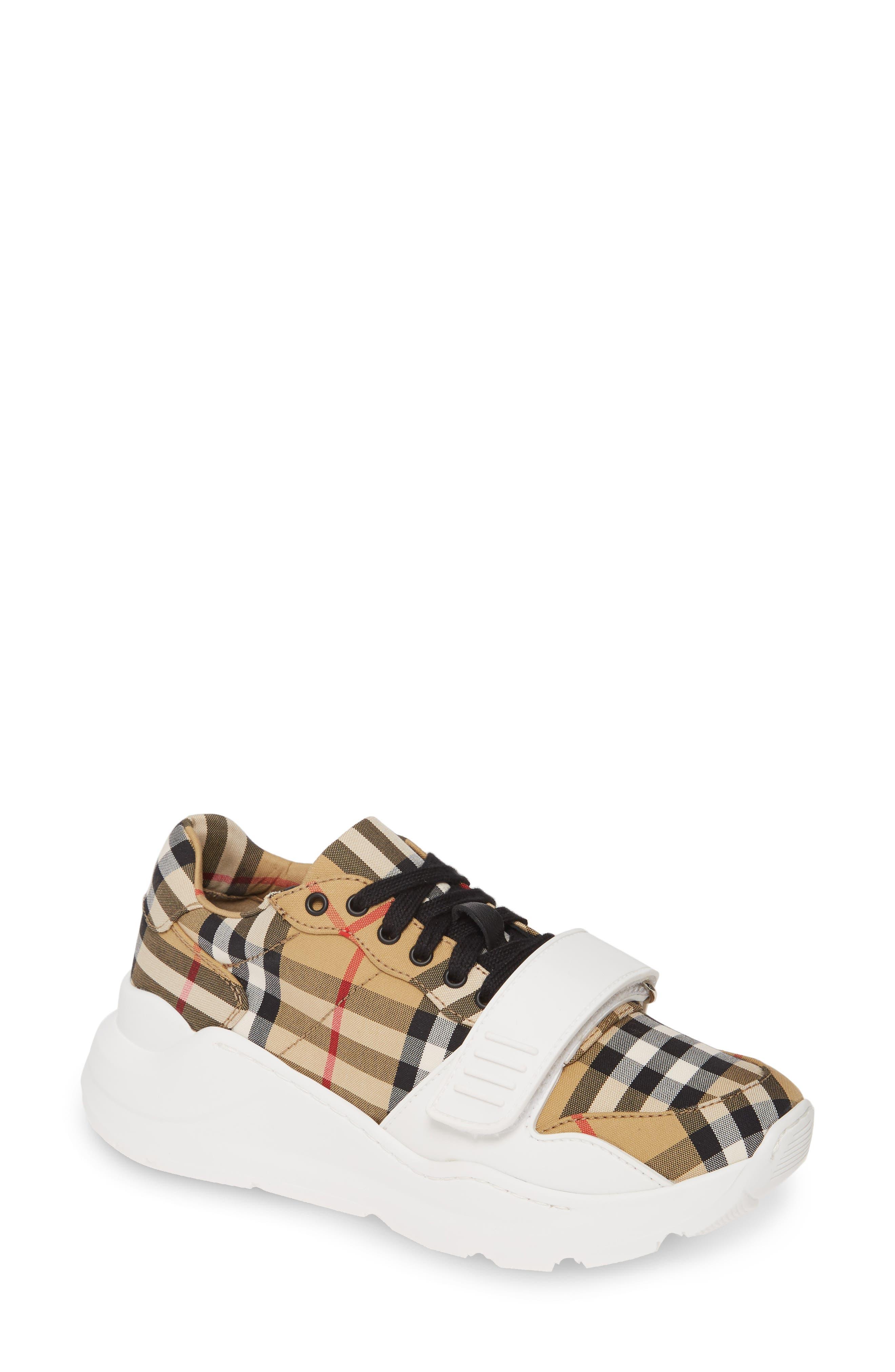 Burberry Regis Check Lace-Up Sneaker - Beige
