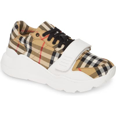 Burberry Regis Check Lace-Up Sneaker - Beige