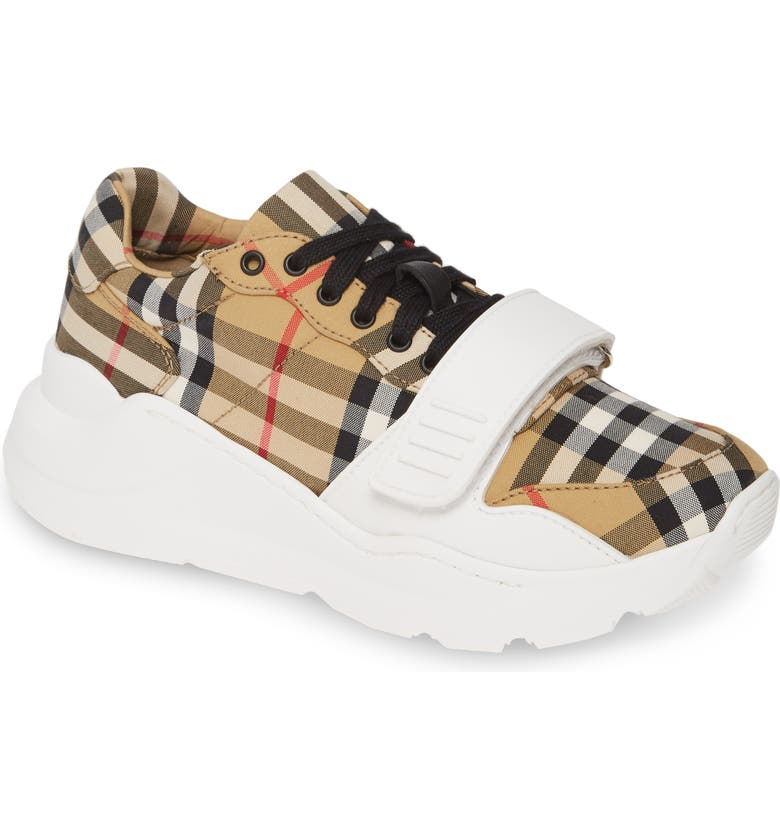 BURBERRY Regis Check Lace-Up Sneaker, Main, color, BEIGE PLAID