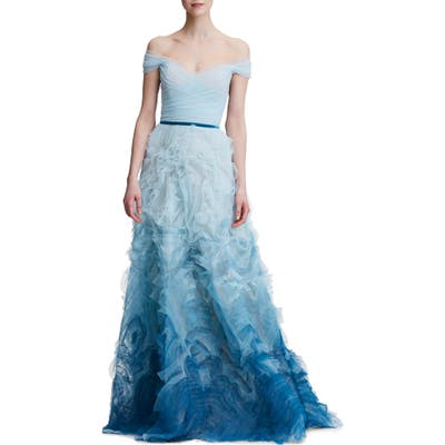 Marchesa Notte Ombre Off The Shoulder Gown