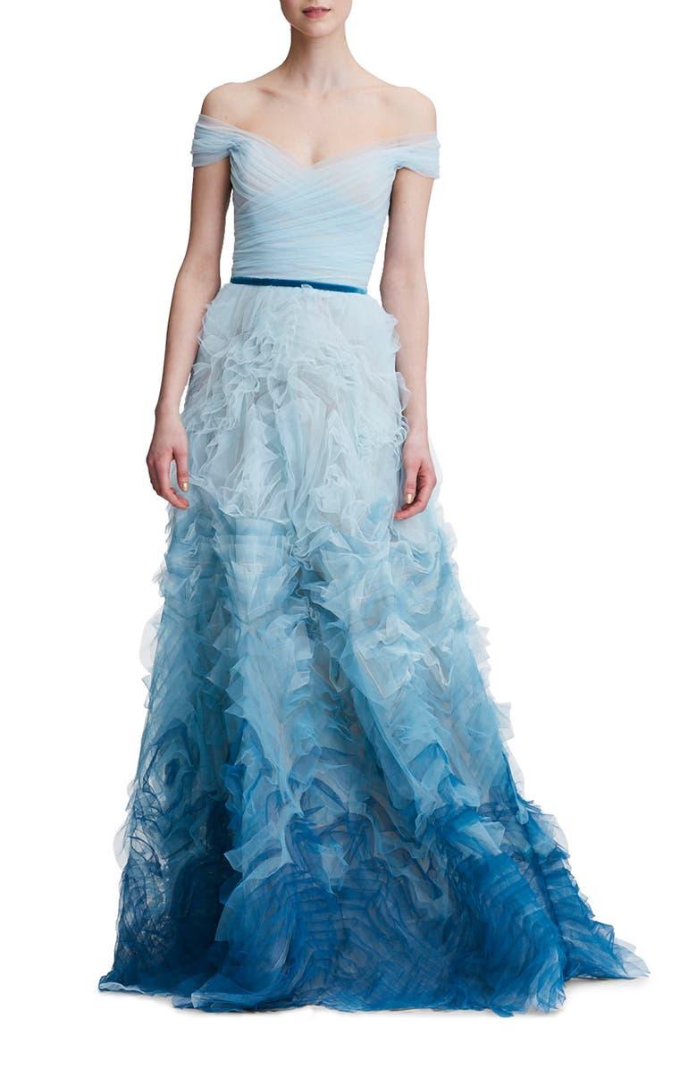 MARCHESA NOTTE Ombré Off The Shoulder Gown, Main, color, 475