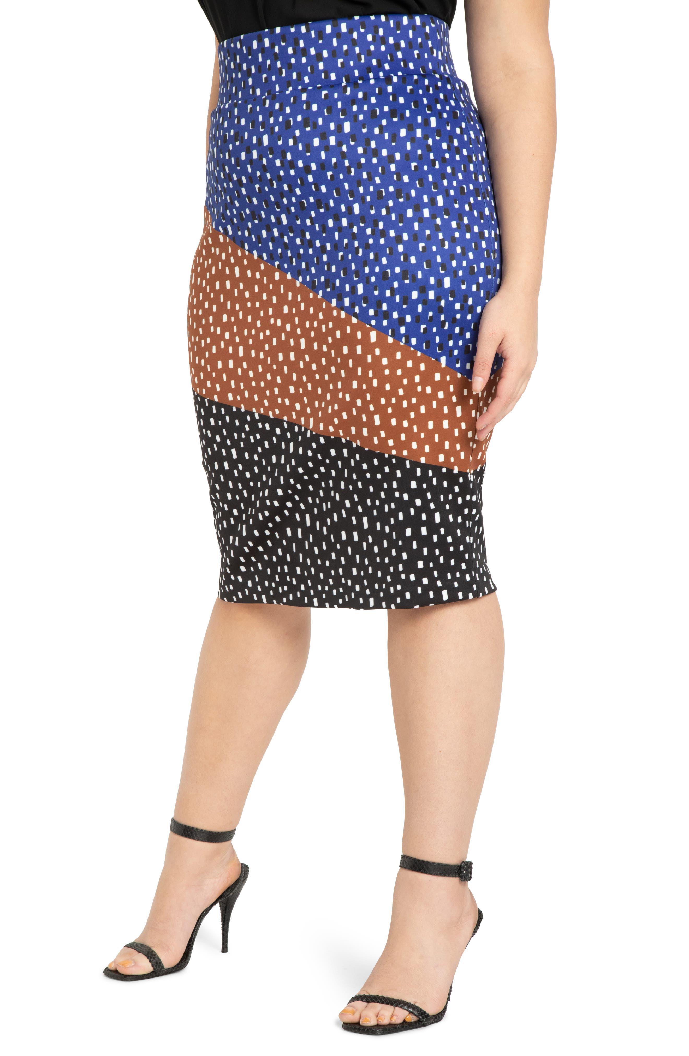 Colorblock Printed Neoprene Skirt