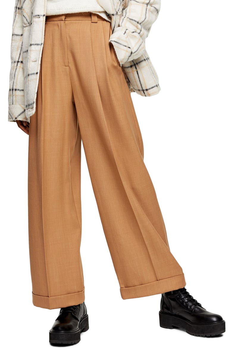 TOPSHOP Cuffed Wide Leg Trousers, Main, color, CAMEL
