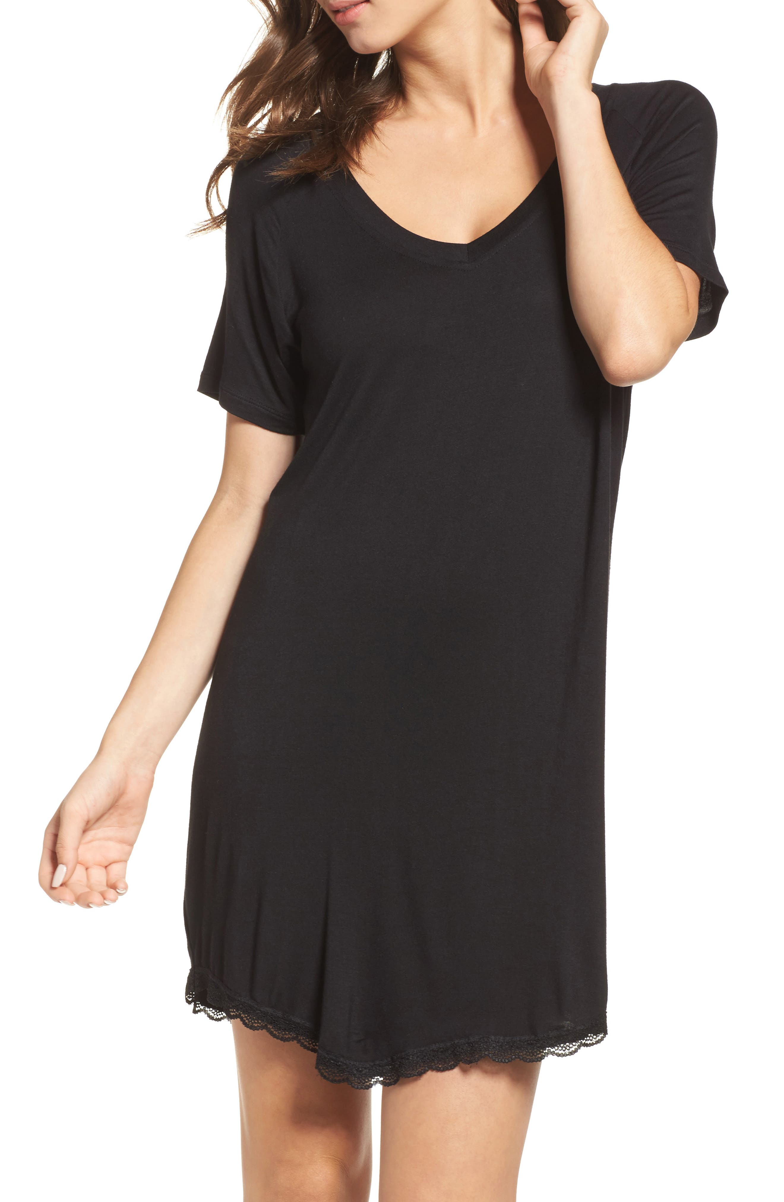 All American Sleep Shirt, Main, color, BLACK