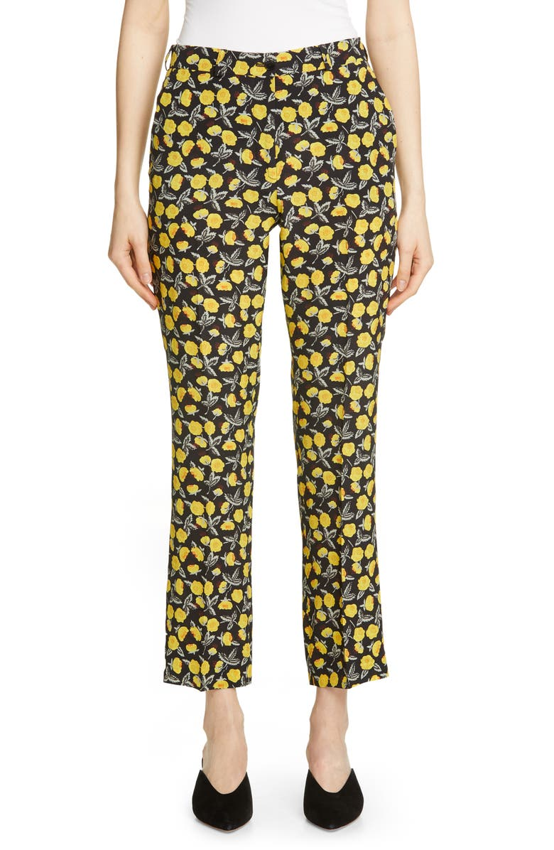 ETRO Poppy Print Crop Silk Pants, Main, color, BLACK