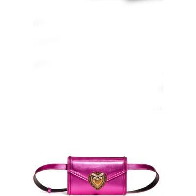 Dolce & gabbana Devotion Metallic Leather Belt Bag - Pink
