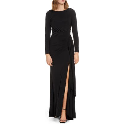 Petite Vince Camuto Long Sleeve Ruched Gown, Black