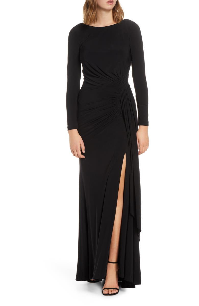 VINCE CAMUTO Long Sleeve Ruched Gown, Main, color, BLACK