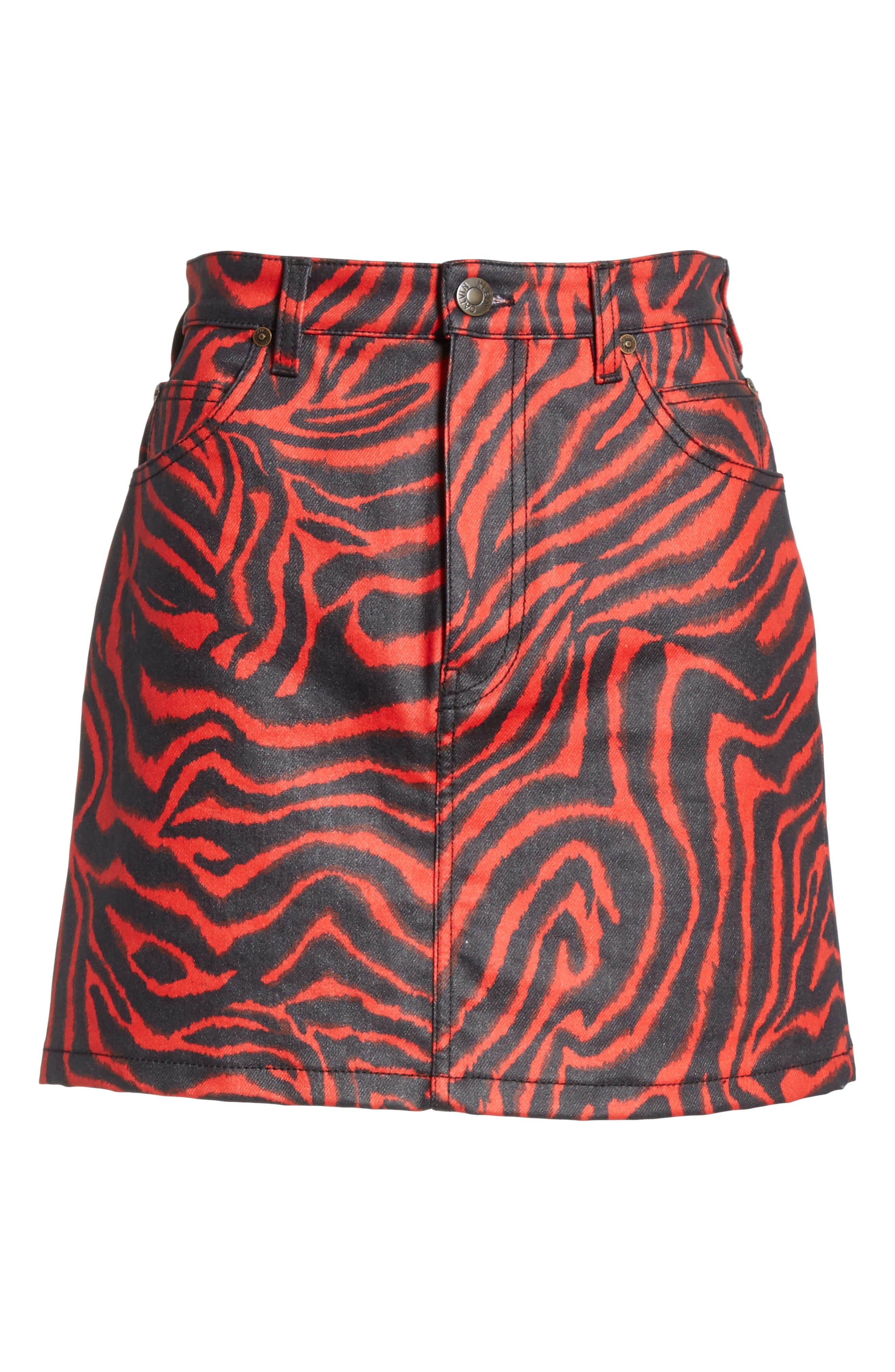 ,                             Zebra Print Denim Skirt,                             Alternate thumbnail 6, color,                             RED ZEBRA